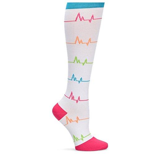 (EKG Compression Socks by Nurse Mates - White,Size 9-11)