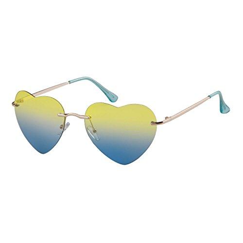 coeur Femmes de fille sans lunettes Sunglass forme ADEWU plage de en Blue Yellow monture XxqpAS