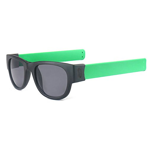 Best-topshop Slap Folding Polarized Sunglasses Creative Wristband Bracelet Bands for Driving Outdoor Sports, Green - For Eyes Protecting Best Sunglasses