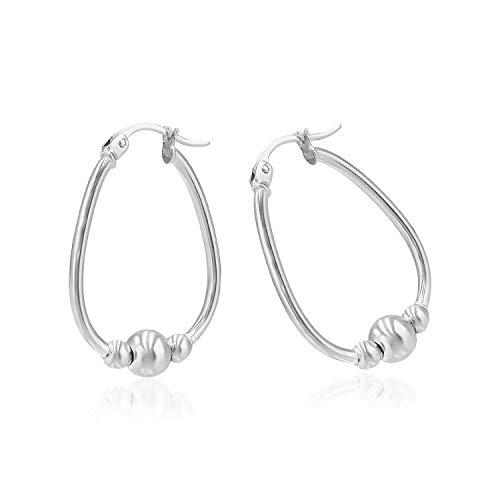 (Sea of Ice Sterling Silver Polished Beaded Hoop Earrings, 18mm)