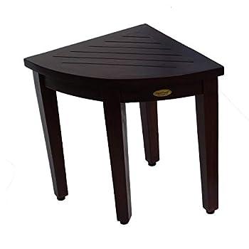 Image of Bath & Shower Aids Decoteak Teak Corner Shower Seat Stool Chair Bench- Sitting, Storage, or Foot Rest