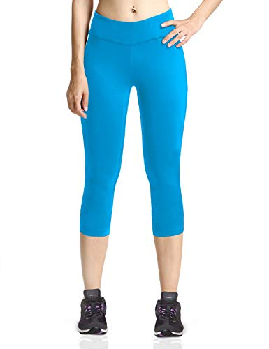 Baleaf Women's Yoga Capri Pants Workout Running Legging with Inner Pocket Non See Through Lapis Blue Size M -