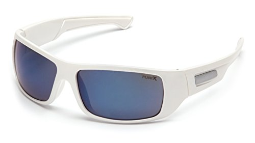 Pyramex Furix Safety Glasses, White Frame/Blue Mirror - Sports Authority Sunglasses