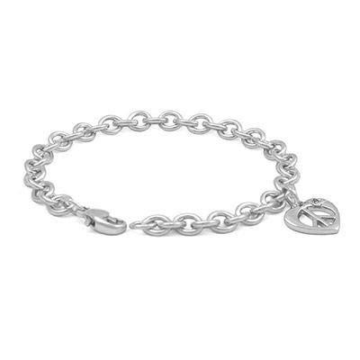 6 3//4 in Children Silver Diamond Heart Shape Peace Sign Charm Bracelet