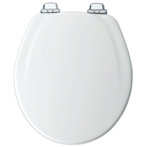 Mayfair Molded Wood Toilet Seat featuring Slow-Close, STA-TITE Seat Fastening System and Chrome Metal Hinges, Round, White, 30CHSLB (Chrome Toilet Seat)