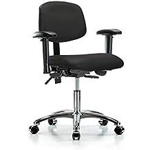 LabTech Seating LT43977 Desk Height Chair, Vinyl, Chrome Base - Tilt, Arms, Chrome Casters