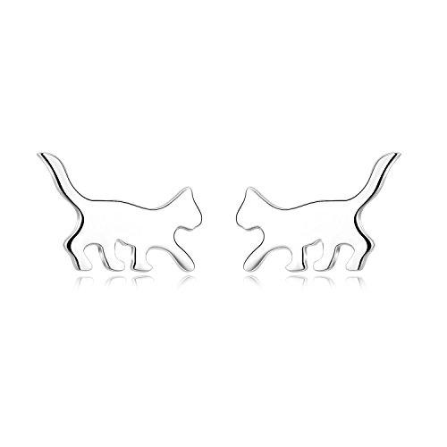 LUHE Cat Earrings Sterling Silver Cute Hypoallergenic Cat Jewelry for Women Girls