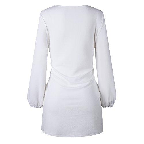 Ddsol Élégantes Robes Midi De Fête Pour Les Femmes À Long Pull-over Tricot Manches 2 Blanc
