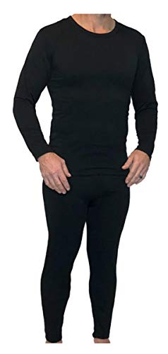 Z-TEX Ultra Soft Men's Fleece Lined Thermal Underwear Long Johns Set (Black, Large)