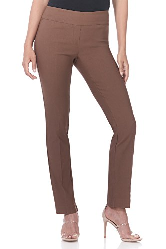 Rekucci Women's Ease in to Comfort Straight Leg Pant with Tummy Control (16,Chestnut)