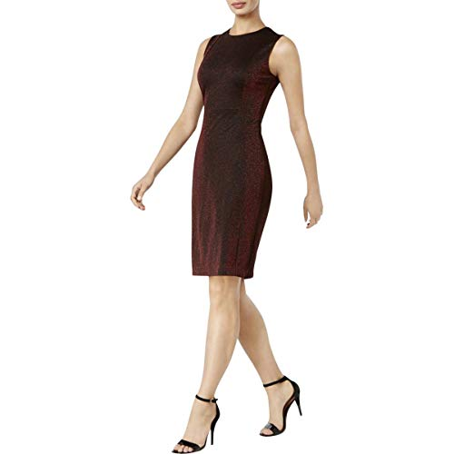 (Calvin Klein Womens Metallic Sleeveless Cocktail Dress Red 8)