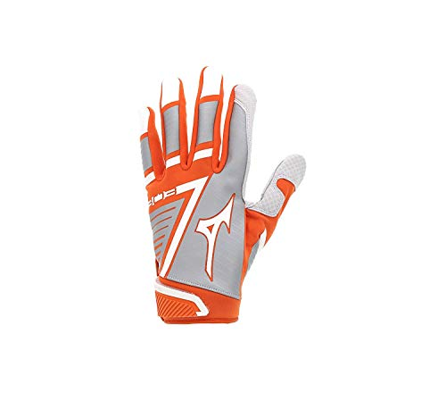 Mizuno B-303 Youth Baseball Batting Glove, Orange-White, Large