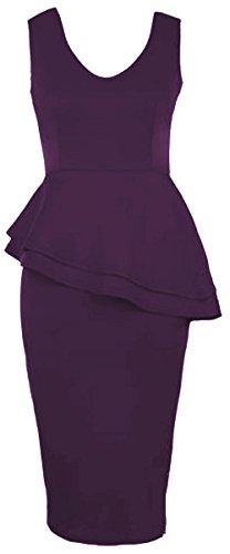 Click Selfie Womens Side Slant Double Frill Long Bodycon Peplum Midi (Double Peplum Dress)