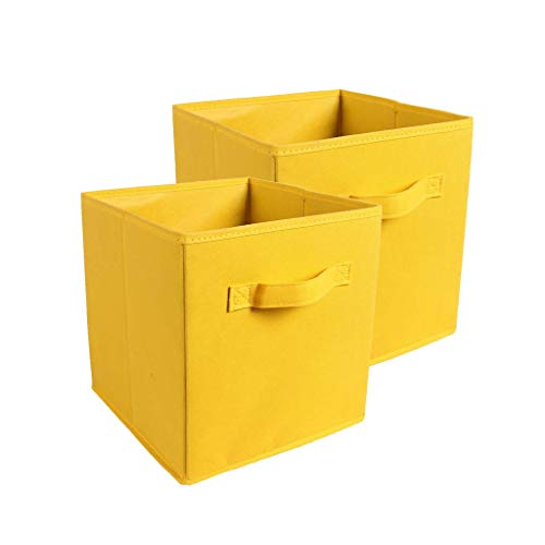 (Zuer Foldable Storage Cubes- Thickening Collapsible Fabric Boxes Household Cube Storage Box - Moistureproof, Dustproof, Odourless (2 Pack) (Yellow))