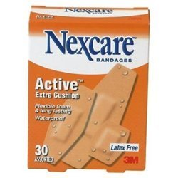 Nexcare Active Extra Cushion Bandages Assorted 30 Each (Pack of 6)