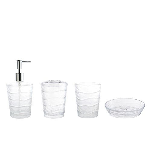 Round Holder Toothbrush (MARCUS HOME Essential 4-Piece Bathroom Set, Includes Soap Dish, Toothbrush Holder, Round Tumbler and Dispenser)
