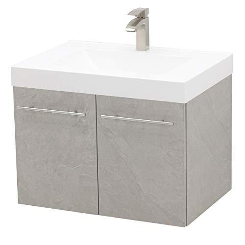 """WindBay Wall Mount Floating Bathroom Vanity Sink Set. Light Slate Grey Vanity, White Integrated Sink Countertop - 29.25"""""""