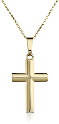 14k Yellow Gold Cross Pendant Necklace, 18""