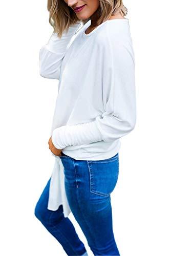 Pipistrello Pullover Larga Maglia Blusa Fiocco Moda Ampia Forti A Oversize Barca Felpa T Taglie Tumblr Camicetta Top Con Bianco Ragazza Tinta shirt Inverno Unita Manica Donna Tunica Scollo Maglietta Basic nP0qRR