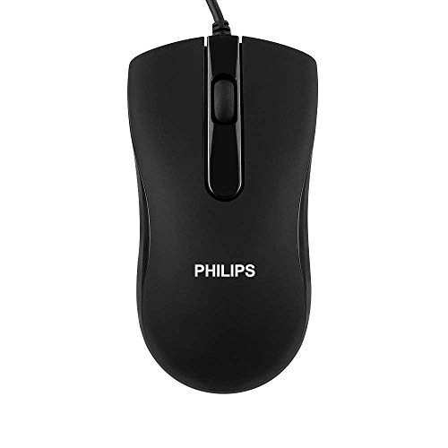Philips Wired USB Mouse Optical Portable Mice Ergonomic Design Compatible with PC Laptop Computer Notebook Mac (Black)