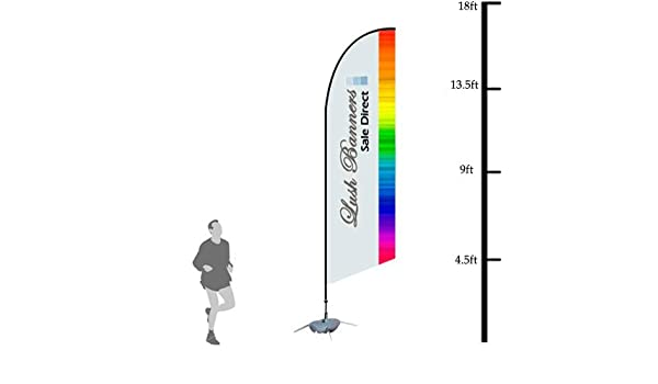 Custom 17ft UV Bowhead Banner Stand - Full Color Poles and Spike Base Double Sided Hardware Included