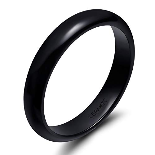 SOMEN TUNGSTEN 4mm Black Ceramic Ring for Women Men Unisex Dome High Polished Wedding Band Size 7