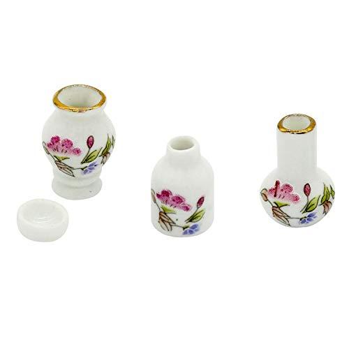 (Feing vases 4pcs Mini Flower Pots Miniatures 1/12 Dollhouse Home Room Decor Accessories,White,Purple)