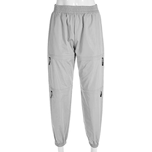 Moda Alta Sciolto da Pants Jogging Alpinismo Sportive Pantaloni Casual con Vita Zip Onlyoustyle Lungo Donna Argento a Trousers Running fnxqPB4xwS