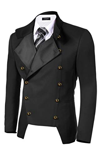 COOFANDY Mens Double-Breasted Vintage Steampunk Jacket Coat