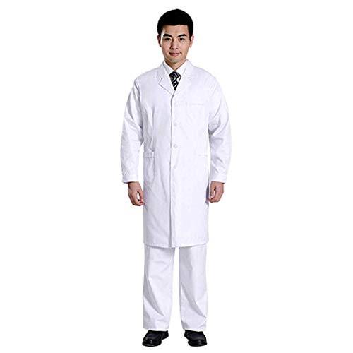 Mens Women Doctors Coat Unisex Lab Coat Long Sleeve Shirts Jacket Winter Medical Uniform Scrubs Tops with Pocket