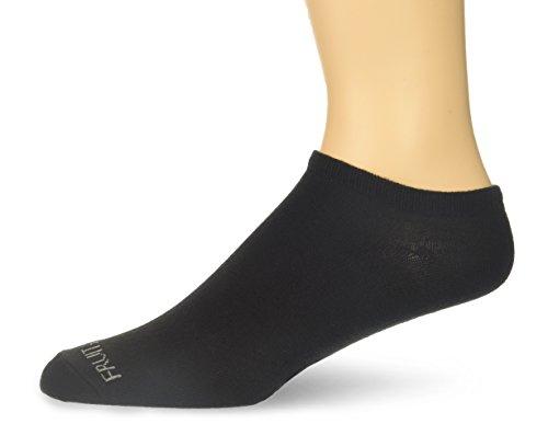Fruit of the Loom Men's 12-pair Flat Knit No Show Liner Socks, black, Shoe Size: 6-12
