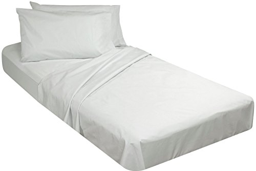 - Cotton/Poly Fitted Cot Sheet, White