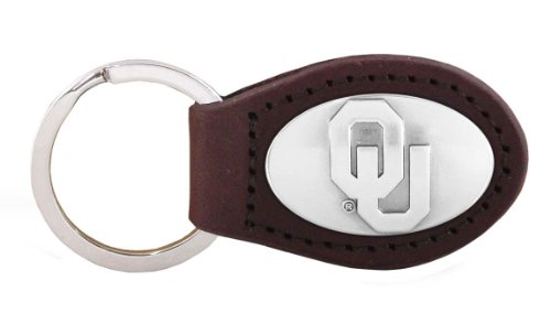 NCAA Oklahoma Sooners Brown Leather Concho Key Fob, One Size
