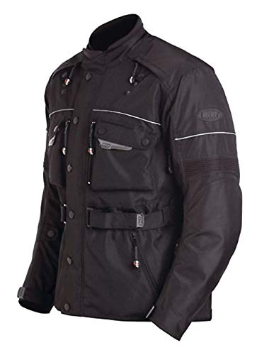 Bilt Storm Waterproof Protective CE Armor Removable Fleece Liner Adventure Touring Motorcycle Rain Jacket - Black 2XL