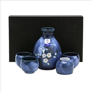 JapanBargain S-3456, Porcelain Sake Set, Sakura, Dark Blue