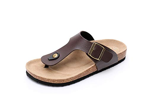 (WTW Women's Arizona Flat 2 Strap Cork Sandals Soft Suede Footbed Slides (US 9, Brown))