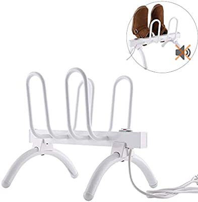 TYXTYX 4 Pairs Free Standing Electric Shoes Dryer Dry Heater Boot Rail Rack Dehumidify Warmer,70x30x31.5cm,White