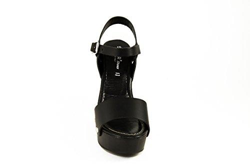 SilferShoes - Zoccolo in vero legno e pelle, con fibbia, colore nero