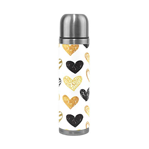 Jojogood Hand Painted Golden Black Hearts Stainless Steel Water Bottle Leak-Proof Vacuum Insulated Flask Pot Sport Double Wall Water Bottle PU Leather Travel Thermos Mug 17 Oz - Hand Painted Black Leather