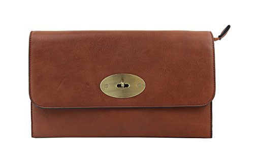 Faux London Leather Twist Clutch with Envelope Craze Brown Shoulder with Long Lock Bag Womens Strap wEFd4q4t