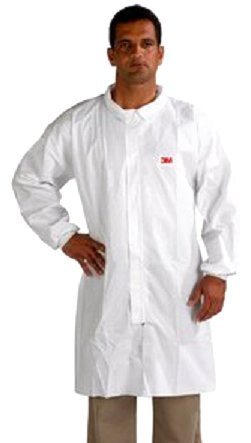 3M Disposable Lab Coat 4440, Polypropylene, Medium, White ...