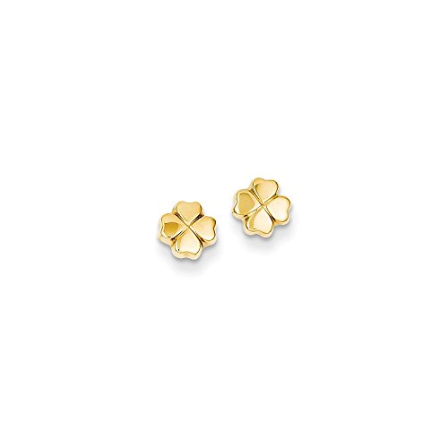 14k Yellow Gold Polished 4-Leaf Clover Post Ear
