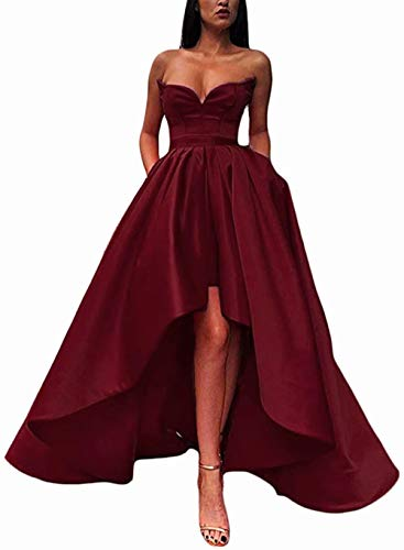 (Womens Sweetheart High Low Prom Dresses Strapless Satin Evening Formal Gowns with Pockets Burgundy)