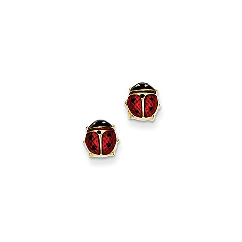 7mm Red Ladybug Post Earrings in 14k Yellow Gold and Enamel by The Black Bow