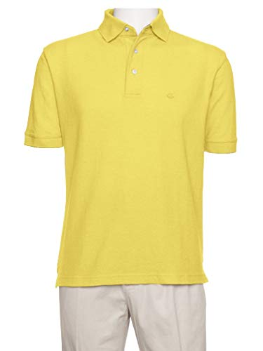 AKA Men's Solid Polo Shirt Classic Fit - Pique Chambray Collar Comfortable Quality Maize Large