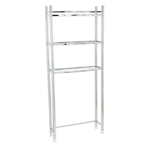Price comparison product image Zenna Home 9035SS, 3-Tier Over-The-Toliet Bathroom Spacesaver Shelf, Chrome/Glass
