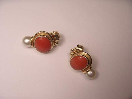 Gorgeous Designer 14K Yellow Gold Red Coral White Pearl Handmade Earrings
