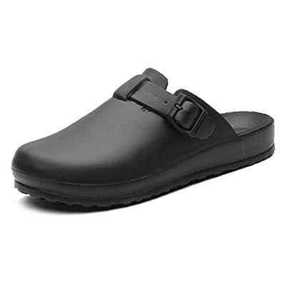 Jiyaru Work Clog for Women Men Doctor Shoes Waterproof Oil Resistant for Kitchen Chef Nurse Black Size: 9