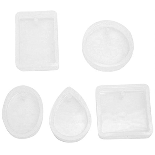 Sinwo 1Set Pendant Silicone Mold Resin Silicone Mould Handmade Tool Epoxy Resin Molds DIY Jewelry Mould (A) (Jade Bangles White Gold)