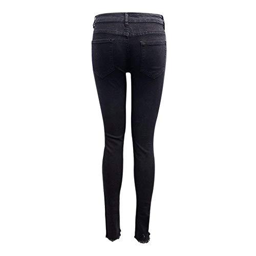 Denim Jeans Chel Adelina Cintura Con Bordado Tobillo Mujeres Alta Ropa Pantalones De Schwarz Skinny Lápiz Las Casuales Bolsillos Flor 77vqB18